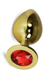 Анальная пробка Vandersex S золото, оранжевый кристалл