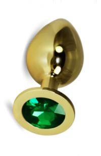 Анальная пробка Vandersex M золото, салатовый кристалл