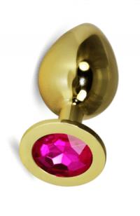 Анальная пробка Vandersex M золото, розовый кристалл