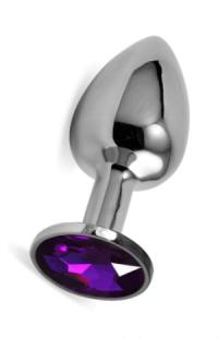 Анальная пробка Vandersex L металл, фиолетовый кристалл
