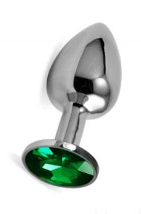 Анальная пробка Vandersex L металл, зеленый кристалл