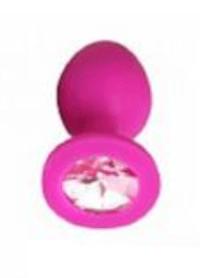Анальная пробка Vandersex M розовая, розовый кристалл