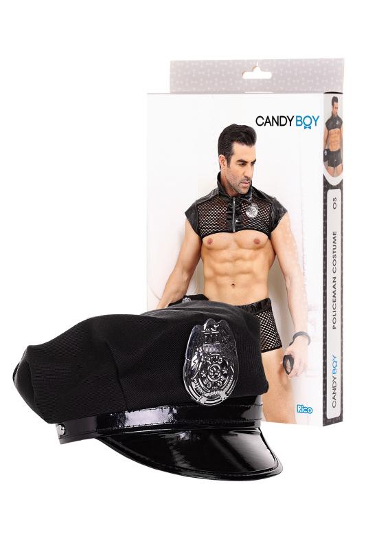 костюм полицейского candy boy rico (топ, боксеры, головной убор, наручники), черный, os, tfa-801014 TFA-801014
