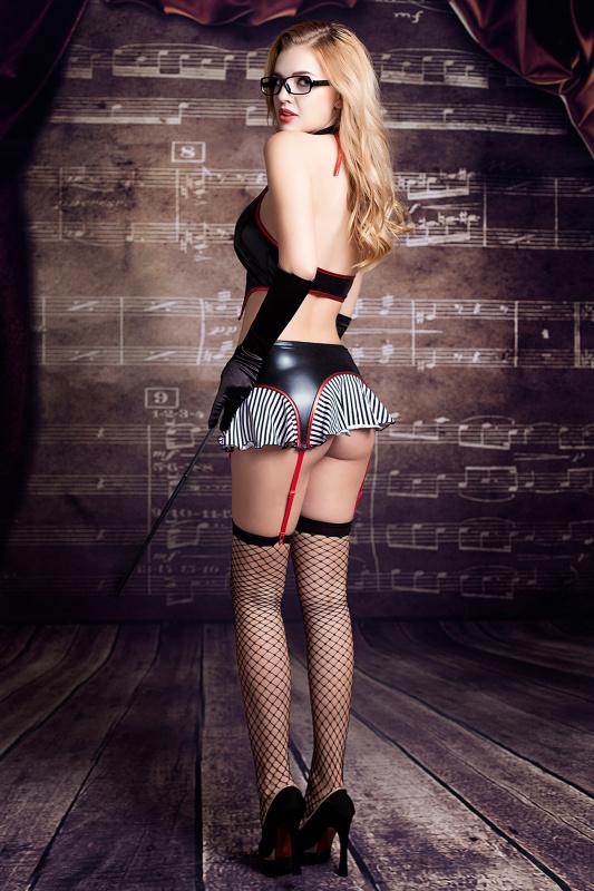 костюм учительницы candy girl ginger (топ, юбка с пажами, трусы, перчатки, галстук, чулки, очки, указка), черно-красный, os, tfa-841042 TFA-841042