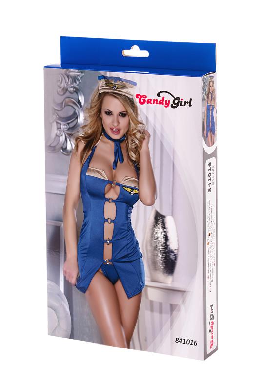 костюм бортпроводницы candy girl (платье, стринги и головной убор) голубой-os TFA-841016