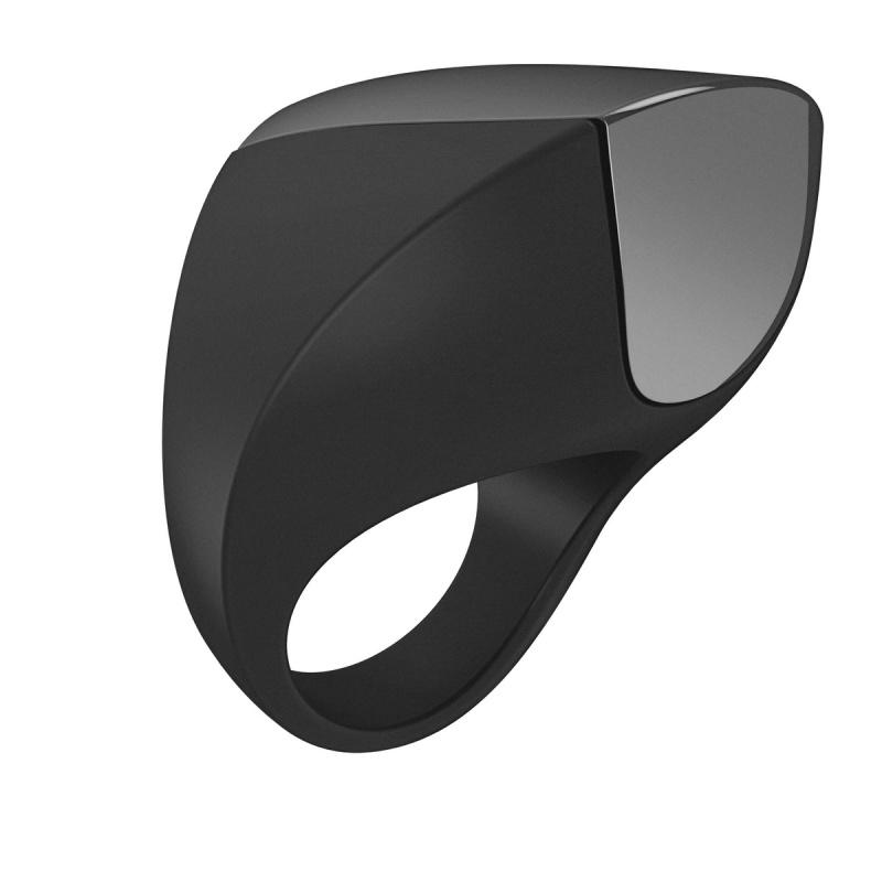 Эрекционное кольцо OVO инновационной формы с вибрацией, перезаряжаемое, силиконовое, черное