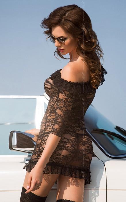agathe - платье с открытыми плечами, рукавами 3/4 и стринги черные-s/m TFA-180816
