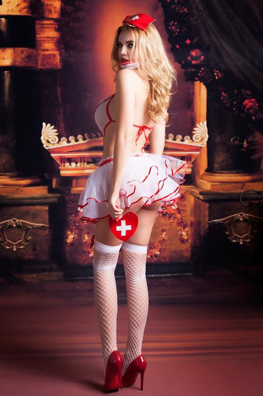 костюм медсестры candy girl lola (боди, юбка, чулки, головной убор, маска, аксессуар), бело-красный, os, tfa-841040 TFA-841040