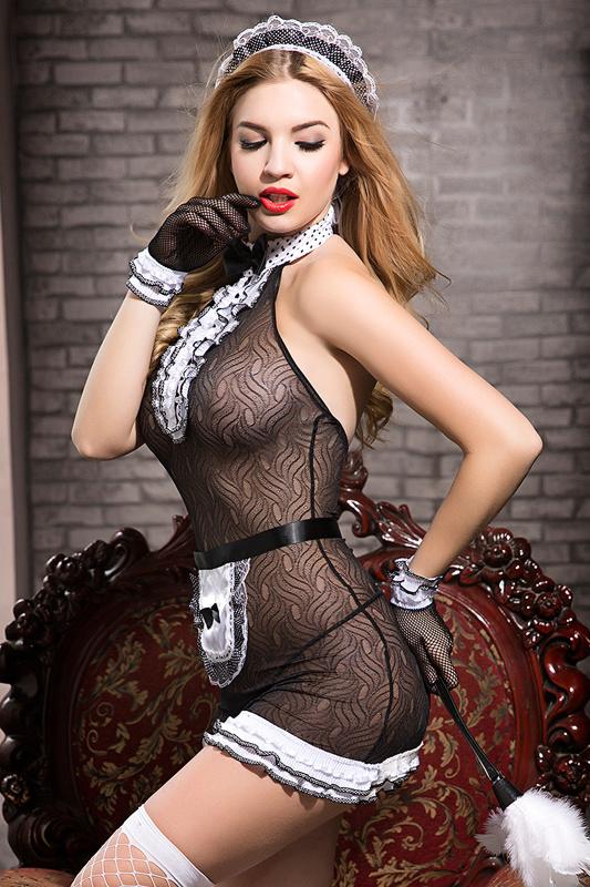 костюм горничной candy girl tiffany (комбинация, трусы, фартук, перчатки, чулки, головной убор, метелка), черно-белый, os, tfa-841037 TFA-841037