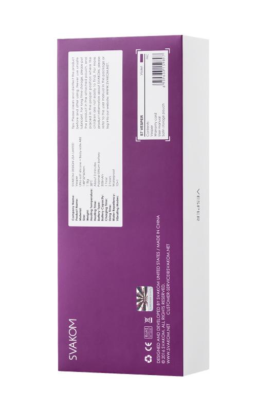 вибратор с клиторальным стимулятором svakom vesper, силикон, фиолетовый, 14,8 см, tfa-s7 TFA-S7