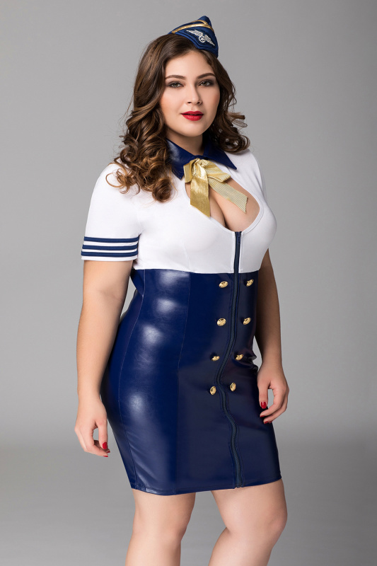 Костюм стюардессы Candy Girl Devon (платье, головной убор) сине-белый, 2XL, TFA-841052