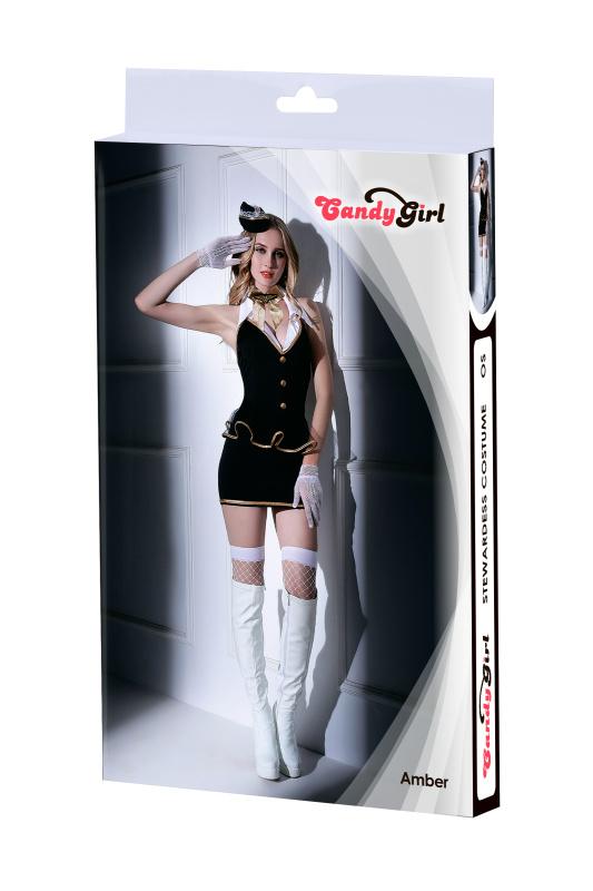 костюм стюардессы candy girl amber (платье, трусы, перчатки, чулки, галстук, головной убор), черно-белый, os, tfa-841038 TFA-841038