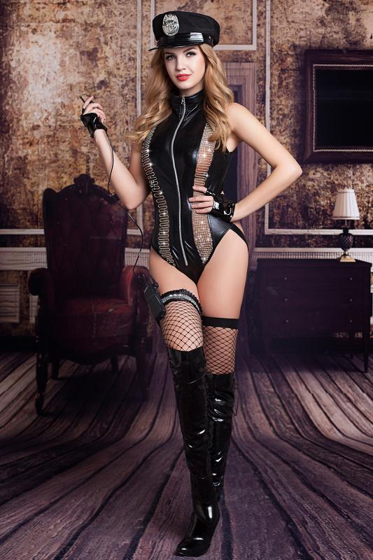 костюм полицейской candy girl raven (боди, головной убор, митенки, подвязка, чулки, рация) черный, os, tfa-841057 TFA-841057