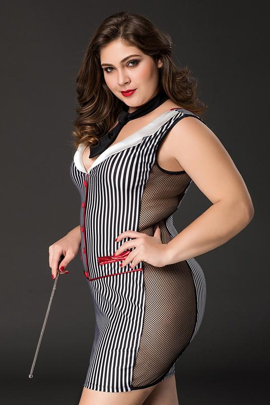 Костюм учительницы Candy Girl Tara (платье, стринги, галстук, указка) черно-белый, 2XL, TFA-841066-BLK-2XL