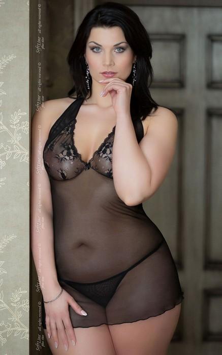 Ночная сорочка SoftLine Collection Marylin и стринги, черные, XXXL, TFA-1017110