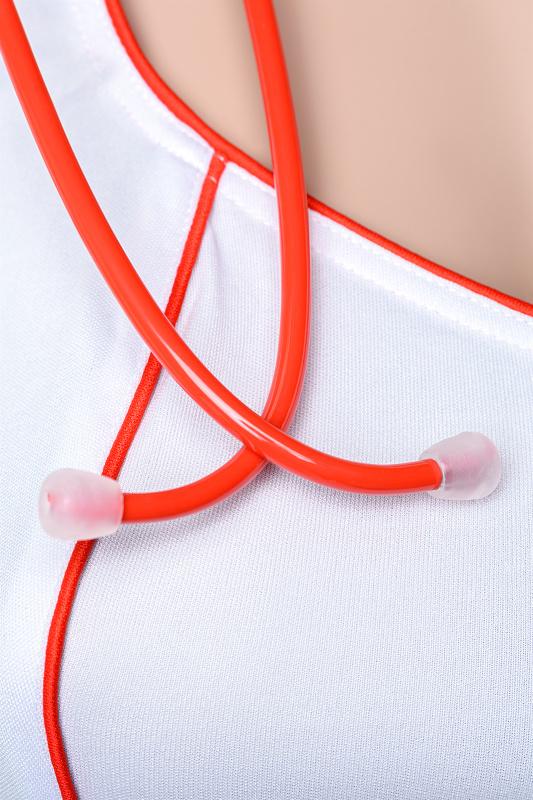 Костюм медсестры Candy Girl Angel (платье, стринги, головной убор, стетоскоп), белый, XL, TFA-841012-WHT-XL