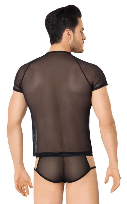костюм-сетка с вырезами по бокам мужской softline collection (майка, шорты), чёрный, m/l, tfa-460717 TFA-460717