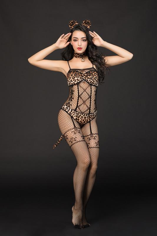 костюм кошки candy girl kandi (костюм-сетка, топ, трусы с хвостом, чокер, головной убор), черно-леопардовый, xl, tfa-841060-blk-xl TFA-841060-BLK-XL