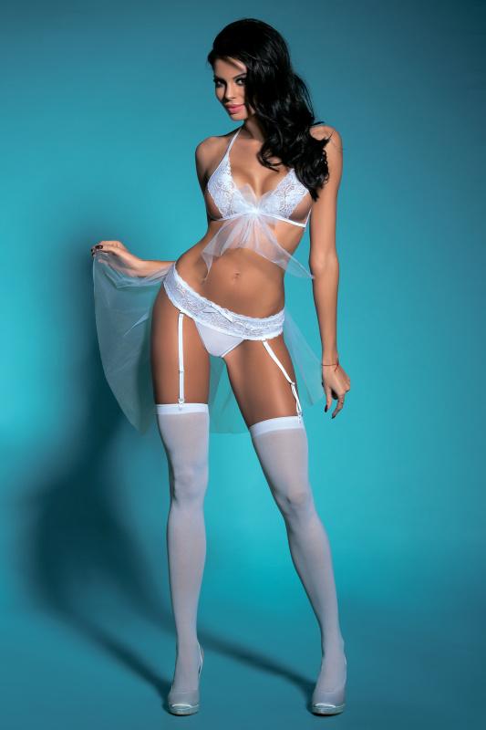 Костюм невесты Candy Girl Gabriela (бюстгальтер, трусики-пояс с фатой и чулки), белый, OS, TFA-841067