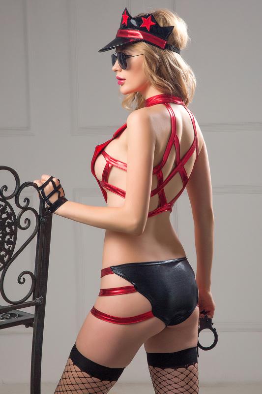 костюм полицейской candy girl roxy (топ, трусики, головной убор, очки, чулки, наручники) красно-черный, os, tfa-841055 TFA-841055