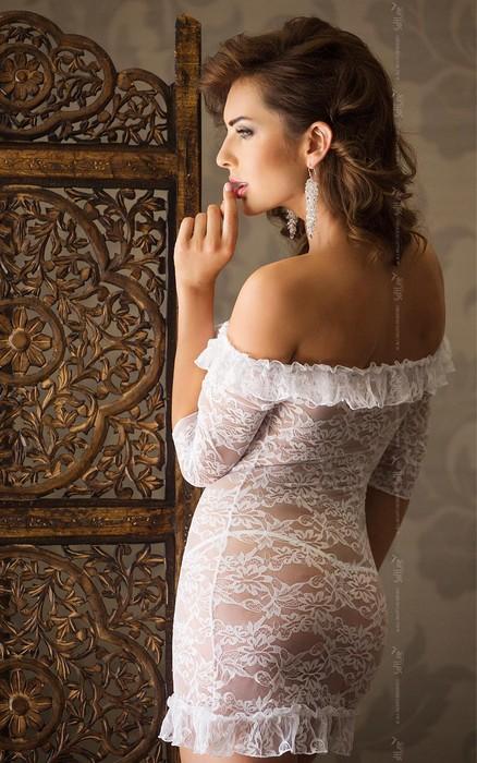 agathe - платье с открытыми плечами, рукавами 3/4 и стринги белые-s/m TFA-180826