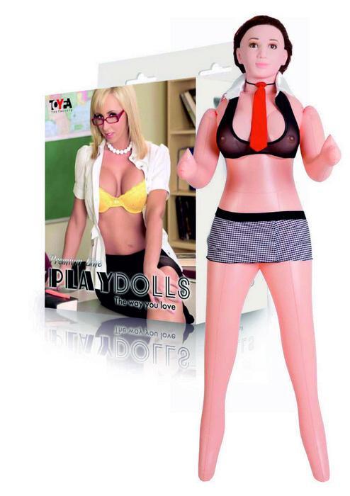 Кукла надувная реалистичная.голова, шатенка, TOYFA Dolls-X, в полный рост, с двумя отверстиями, кибер вставка: вагина- анус, костюм учительницы,160 см