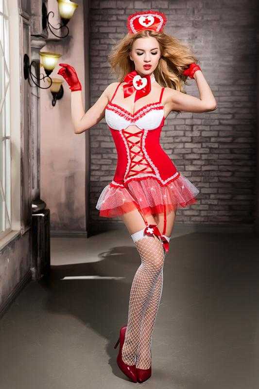 костюм медсестры candy girl gesabelle (платье, перчатки, стринги, чулки, чокер, головной убор, банты), красно-белый, os, tfa-841058 TFA-841058