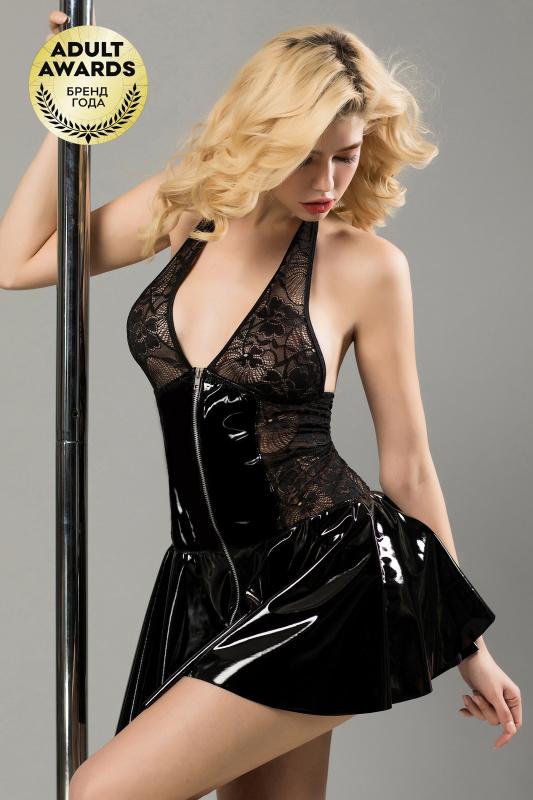 Платье лаковое на молнии и стринги Candy Girl Harlow черные, OS, TFA-840077