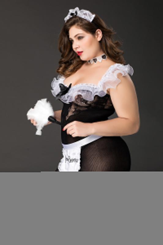 костюм горничной candy girl fanny 2xl, черно-белый, tfa-841063-blk-2xl TFA-841063-BLK-2XL