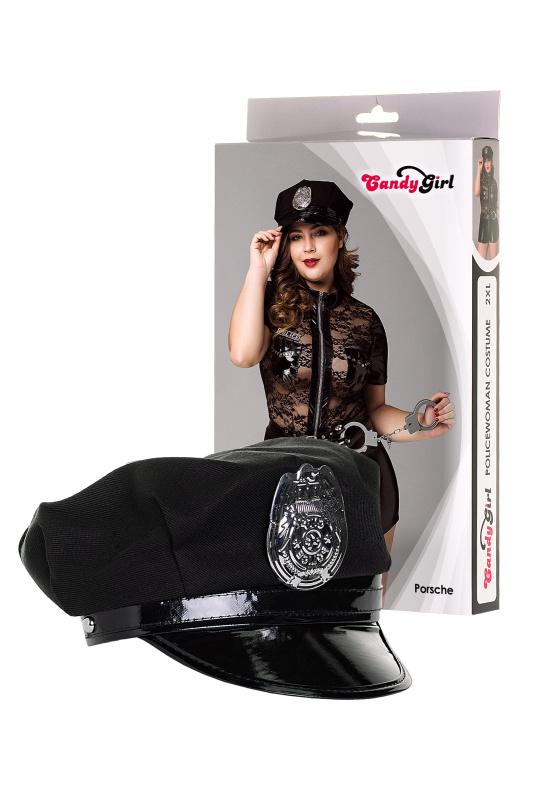 костюм полицейской candy girl porsche (комбинезон, головной убор, наручники) черный, 2xl, tfa-841051 TFA-841051