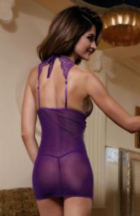 комбинация с фигурным декольте и стринги candy girl фиолетовые-os TFA-840044
