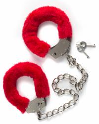 меховые оковы bondage красные IN-1020-02Lola